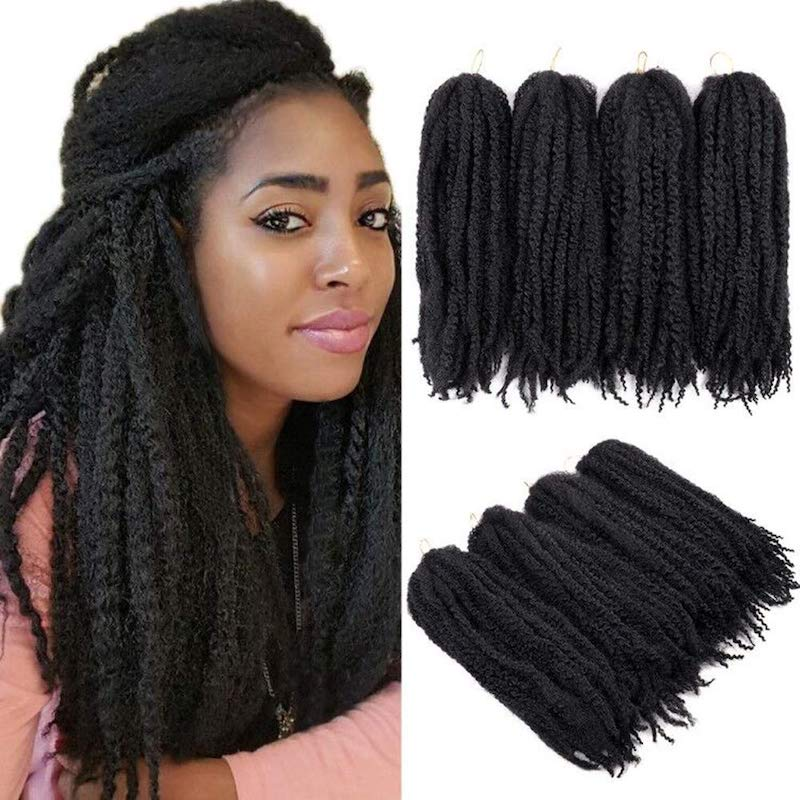 YMHPRIDE 4 Packs Kinky Marley Braiding Hair for Twist Afro Kinky Braiding